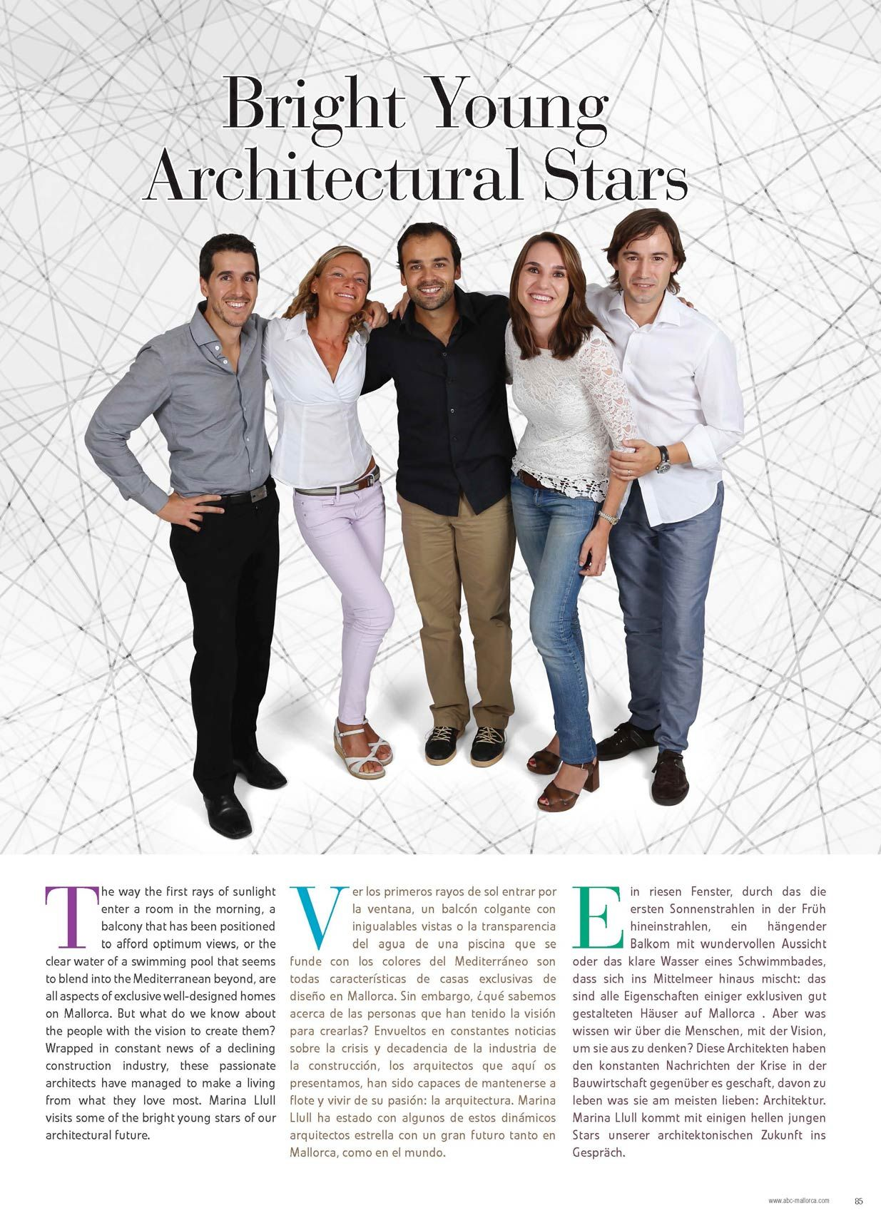 "Reportaje ""BRIGHT YOUNG ARCHITECTURAL STARS"" en la revista ABC Mallorca"